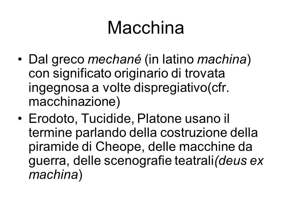 MacchinaDal greco mechané (in latino machina) con significato originario di trovata ingegnosa a volte dispregiativo(cfr. macchinazione)