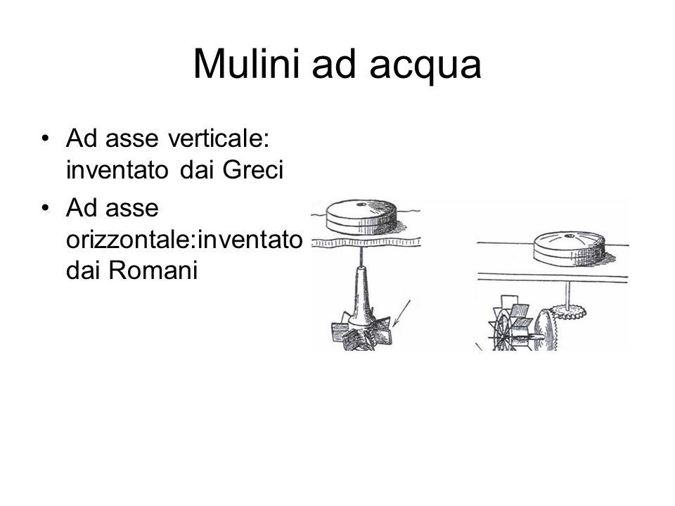 Mulini ad acqua Ad asse verticale: inventato dai Greci