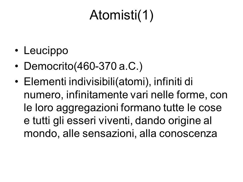 Atomisti(1) Leucippo Democrito(460-370 a.C.)