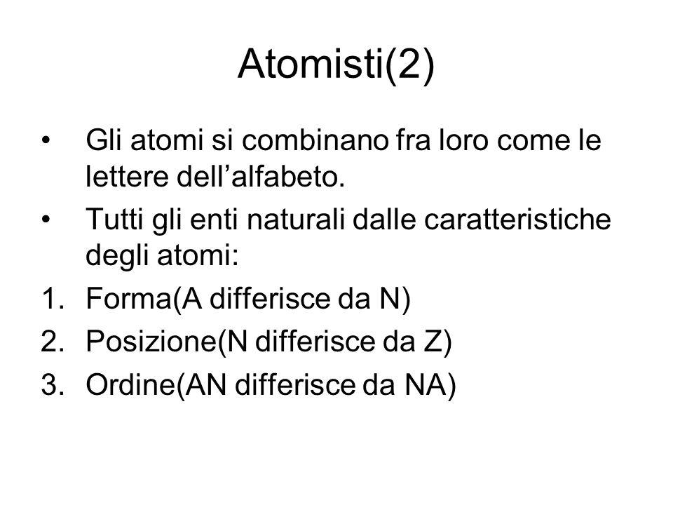 Atomisti(2)Gli atomi si combinano fra loro come le lettere dell'alfabeto. Tutti gli enti naturali dalle caratteristiche degli atomi: