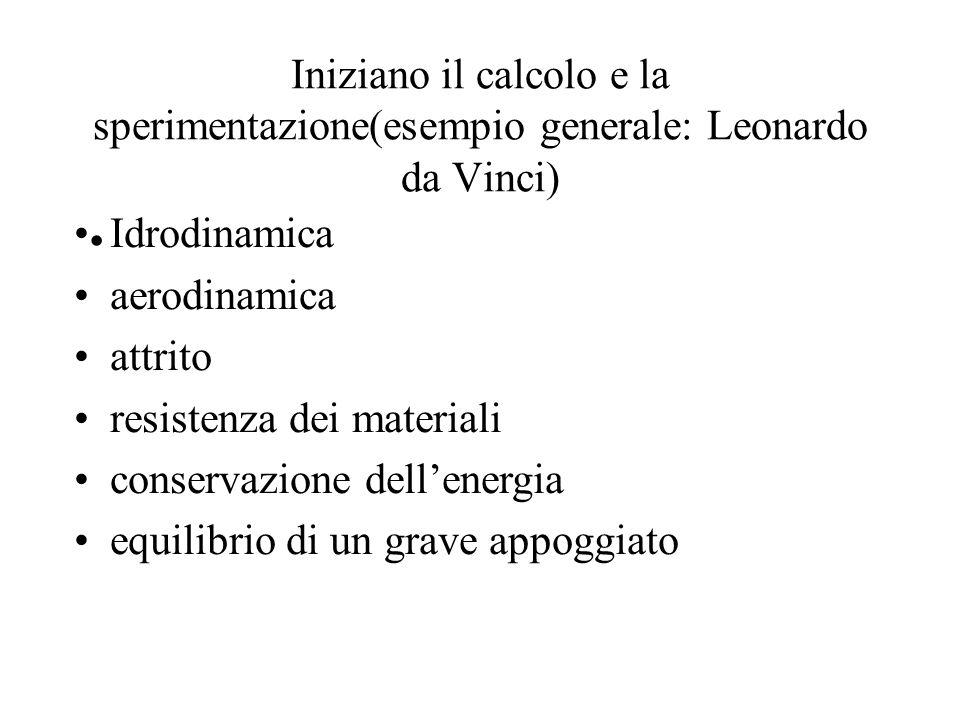 Iniziano il calcolo e la sperimentazione(esempio generale: Leonardo da Vinci)