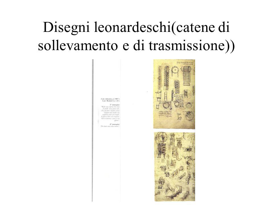 Disegni leonardeschi(catene di sollevamento e di trasmissione))