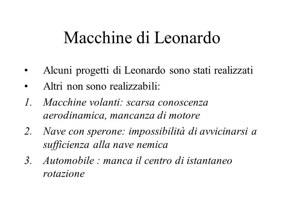 Macchine di Leonardo Alcuni progetti di Leonardo sono stati realizzati