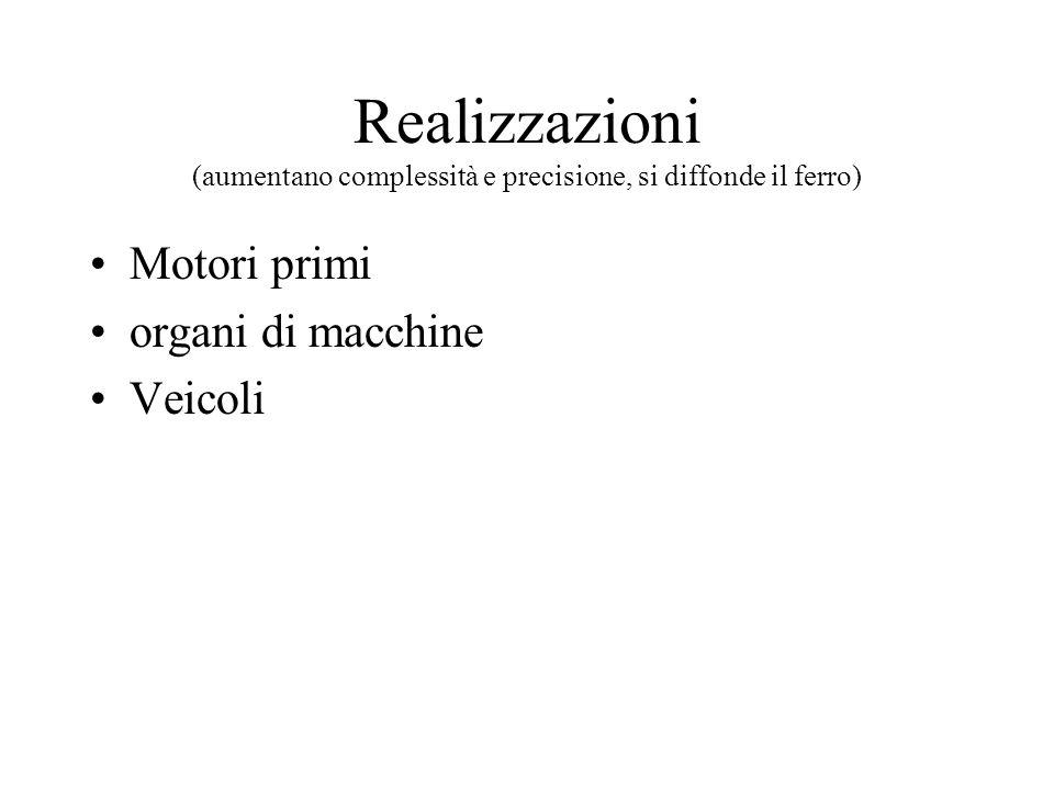 Realizzazioni (aumentano complessità e precisione, si diffonde il ferro)