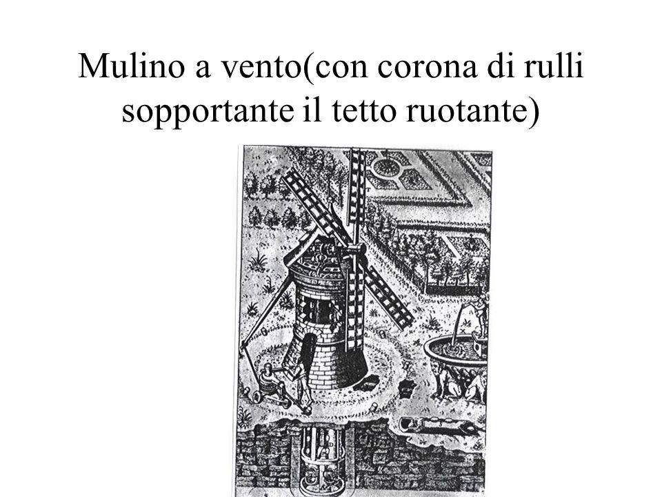 Mulino a vento(con corona di rulli sopportante il tetto ruotante)