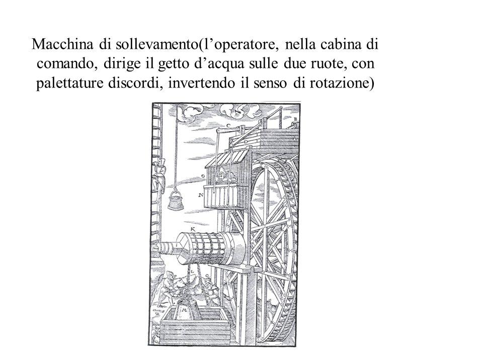 Macchina di sollevamento(l'operatore, nella cabina di comando, dirige il getto d'acqua sulle due ruote, con palettature discordi, invertendo il senso di rotazione)