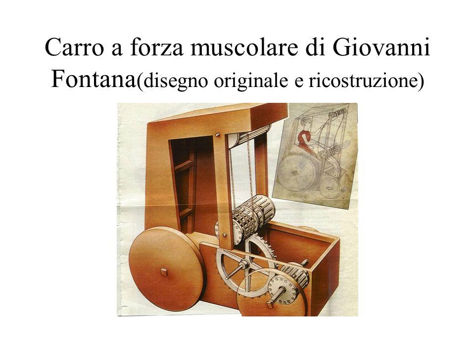 Carro a forza muscolare di Giovanni Fontana(disegno originale e ricostruzione)