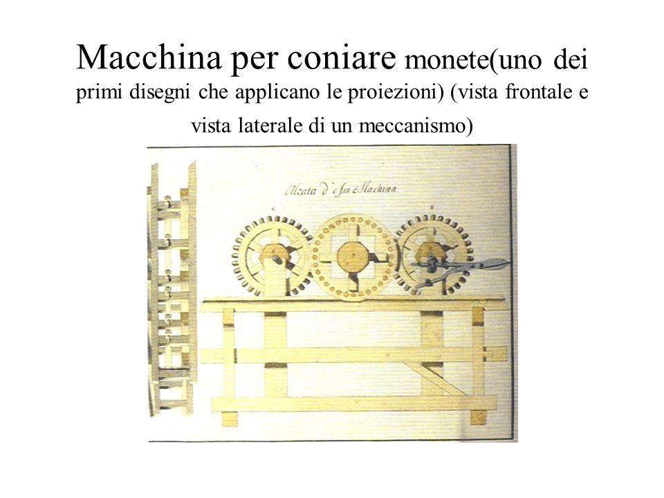 Macchina per coniare monete(uno dei primi disegni che applicano le proiezioni) (vista frontale e vista laterale di un meccanismo)