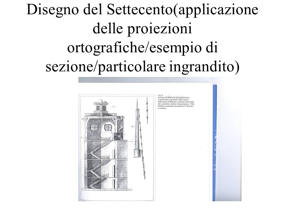 Disegno del Settecento(applicazione delle proiezioni ortografiche/esempio di sezione/particolare ingrandito)