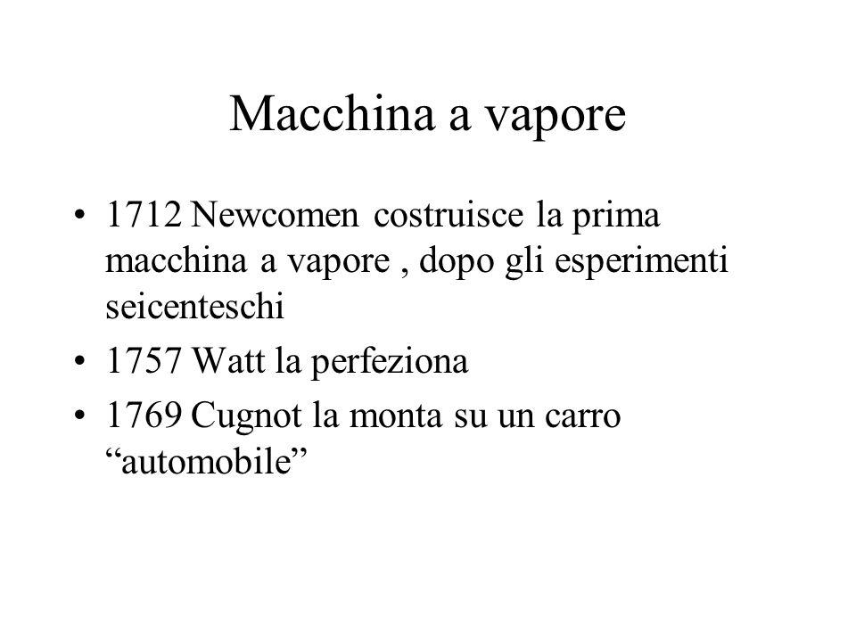Macchina a vapore 1712 Newcomen costruisce la prima macchina a vapore , dopo gli esperimenti seicenteschi.