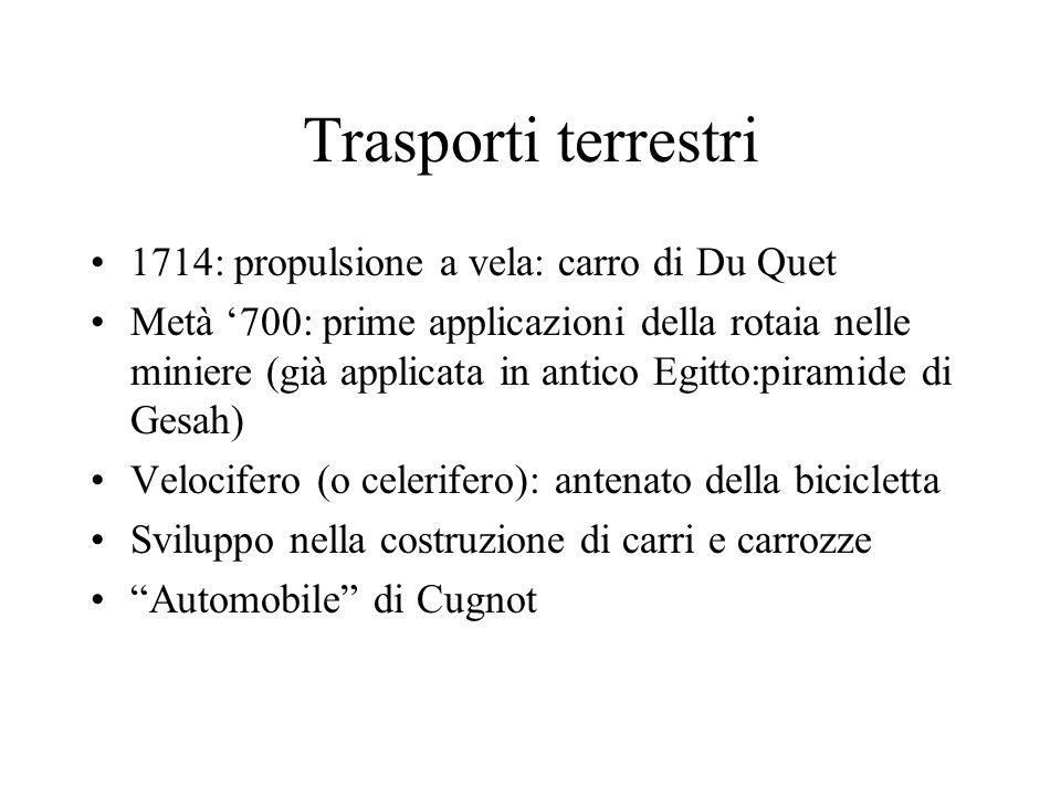 Trasporti terrestri 1714: propulsione a vela: carro di Du Quet