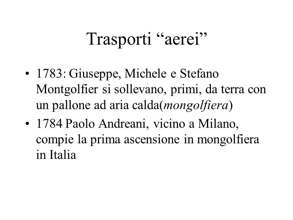 Trasporti aerei 1783: Giuseppe, Michele e Stefano Montgolfier si sollevano, primi, da terra con un pallone ad aria calda(mongolfiera)
