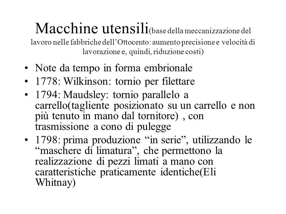 Macchine utensili(base della meccanizzazione del lavoro nelle fabbriche dell'Ottocento: aumento precisione e velocità di lavorazione e, quindi, riduzione costi)