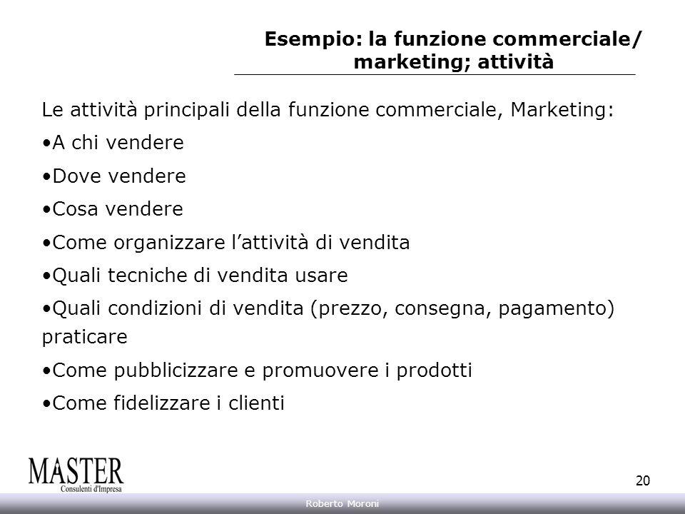 Esempio: la funzione commerciale/ marketing; attività