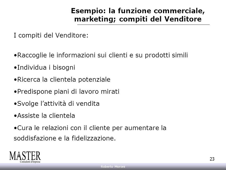 Esempio: la funzione commerciale, marketing; compiti del Venditore