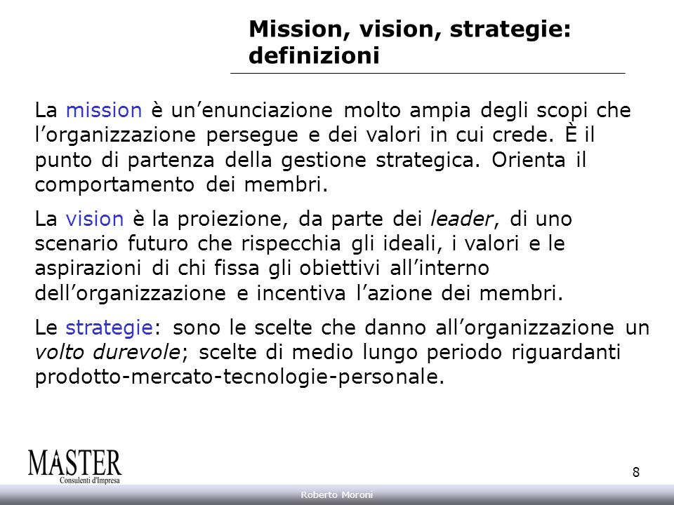 Mission, vision, strategie: definizioni