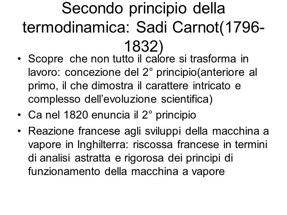 Secondo principio della termodinamica: Sadi Carnot(1796-1832)