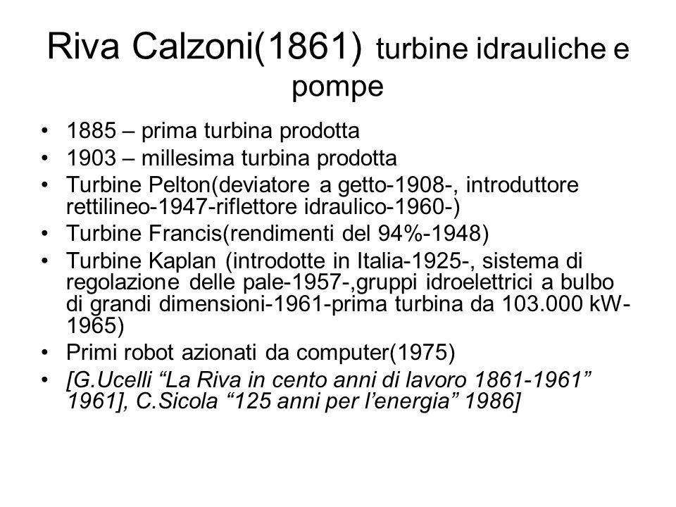 Riva Calzoni(1861) turbine idrauliche e pompe