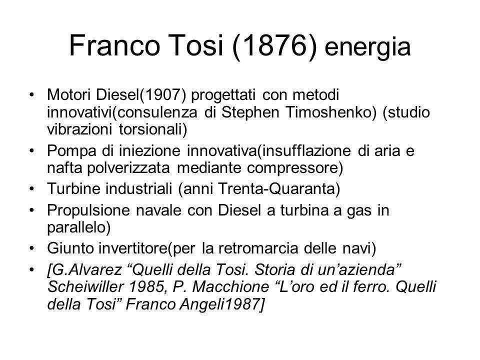 Franco Tosi (1876) energiaMotori Diesel(1907) progettati con metodi innovativi(consulenza di Stephen Timoshenko) (studio vibrazioni torsionali)