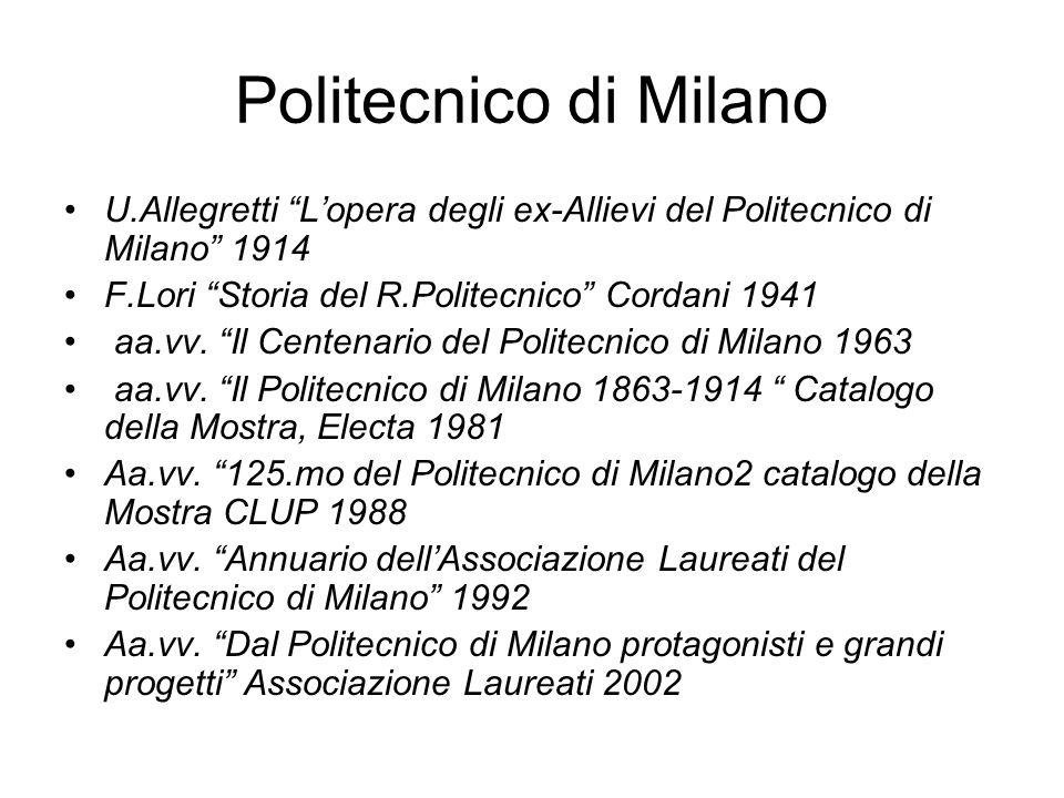 Politecnico di MilanoU.Allegretti L'opera degli ex-Allievi del Politecnico di Milano 1914. F.Lori Storia del R.Politecnico Cordani 1941.