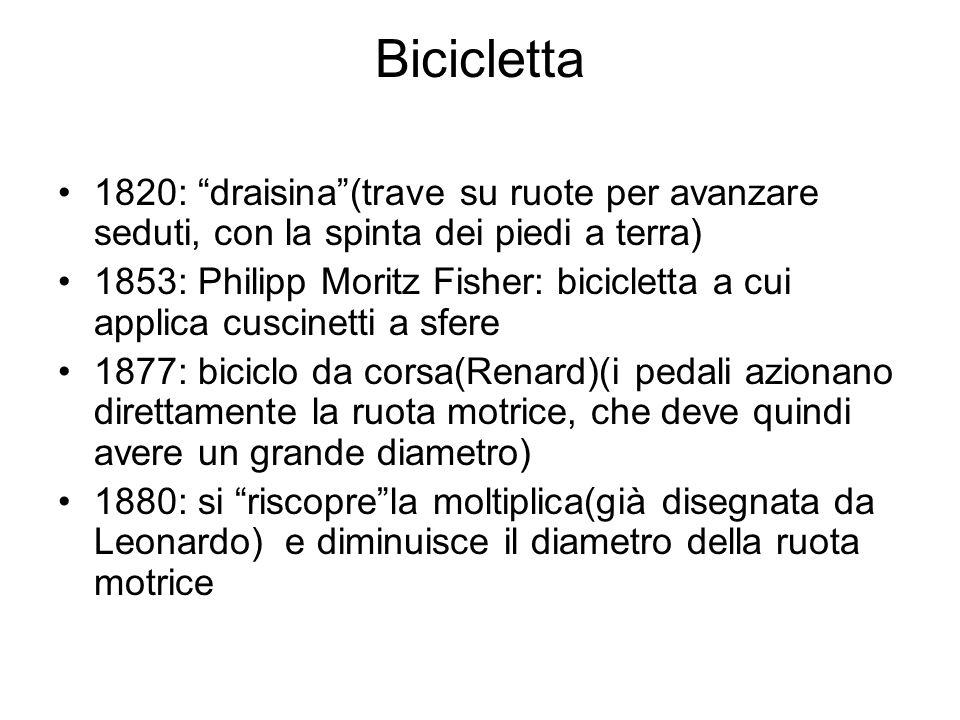 Bicicletta 1820: draisina (trave su ruote per avanzare seduti, con la spinta dei piedi a terra)