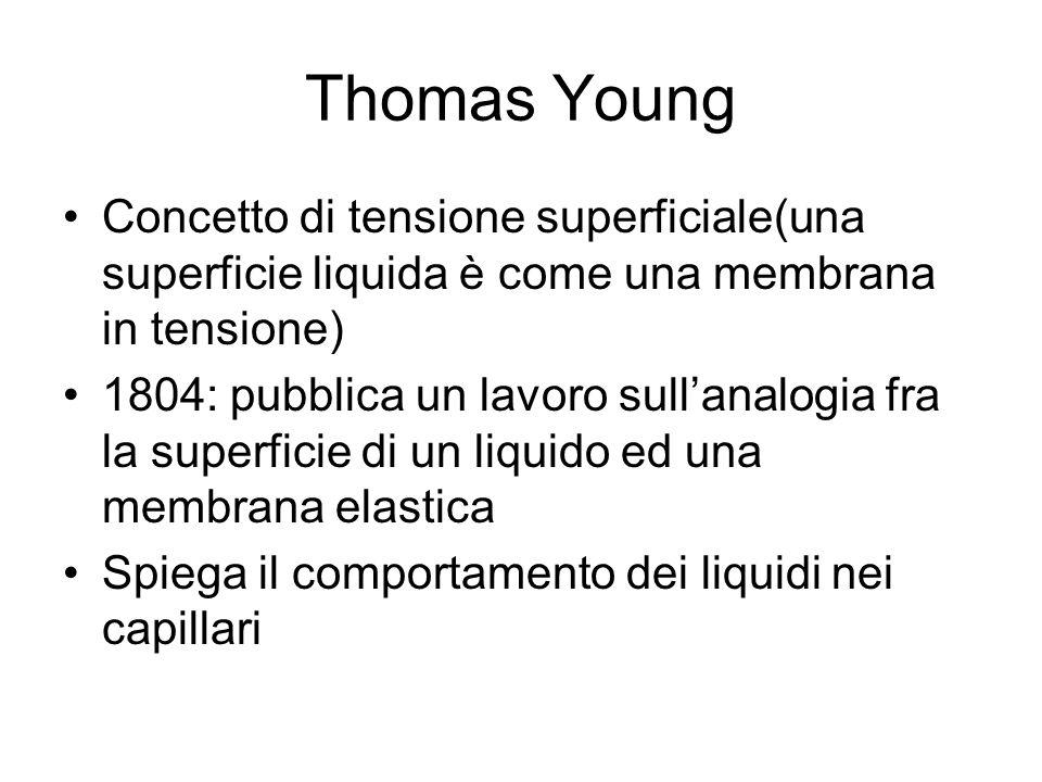 Thomas Young Concetto di tensione superficiale(una superficie liquida è come una membrana in tensione)