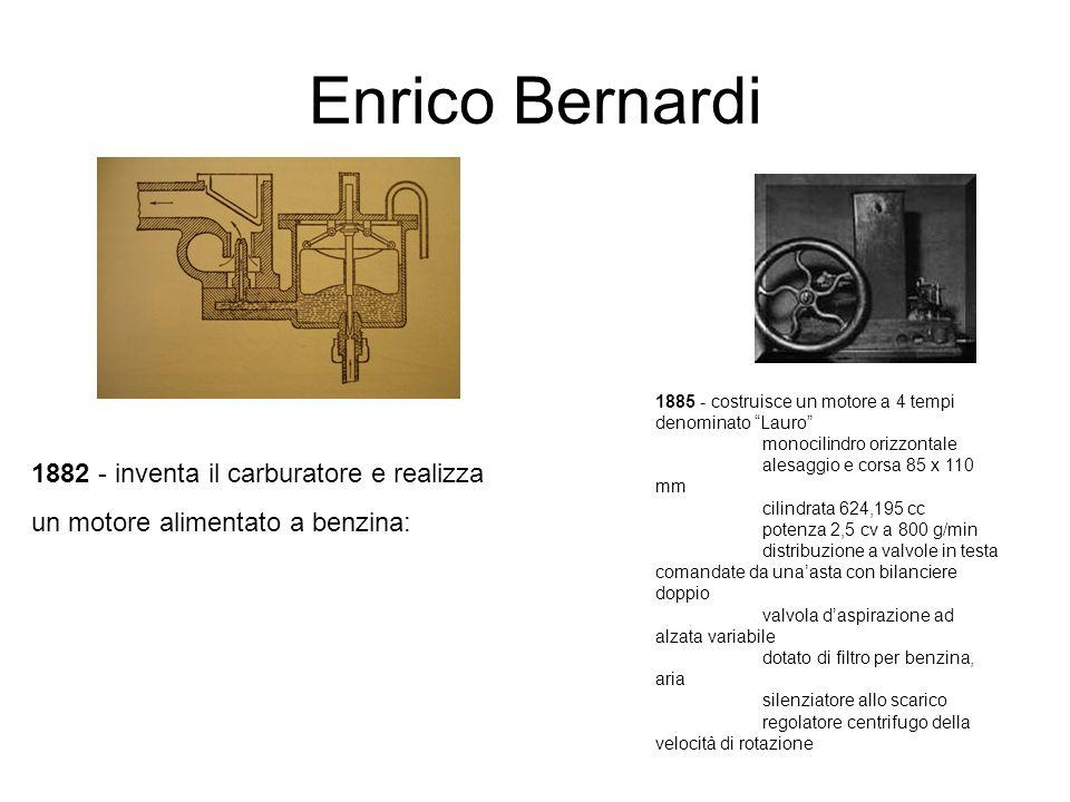 Enrico Bernardi 1882 - inventa il carburatore e realizza