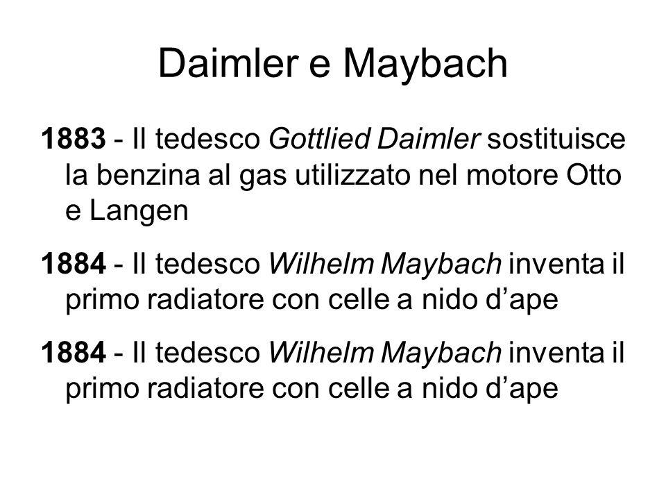 Daimler e Maybach 1883 - Il tedesco Gottlied Daimler sostituisce la benzina al gas utilizzato nel motore Otto e Langen.