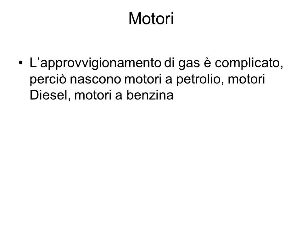 MotoriL'approvvigionamento di gas è complicato, perciò nascono motori a petrolio, motori Diesel, motori a benzina.