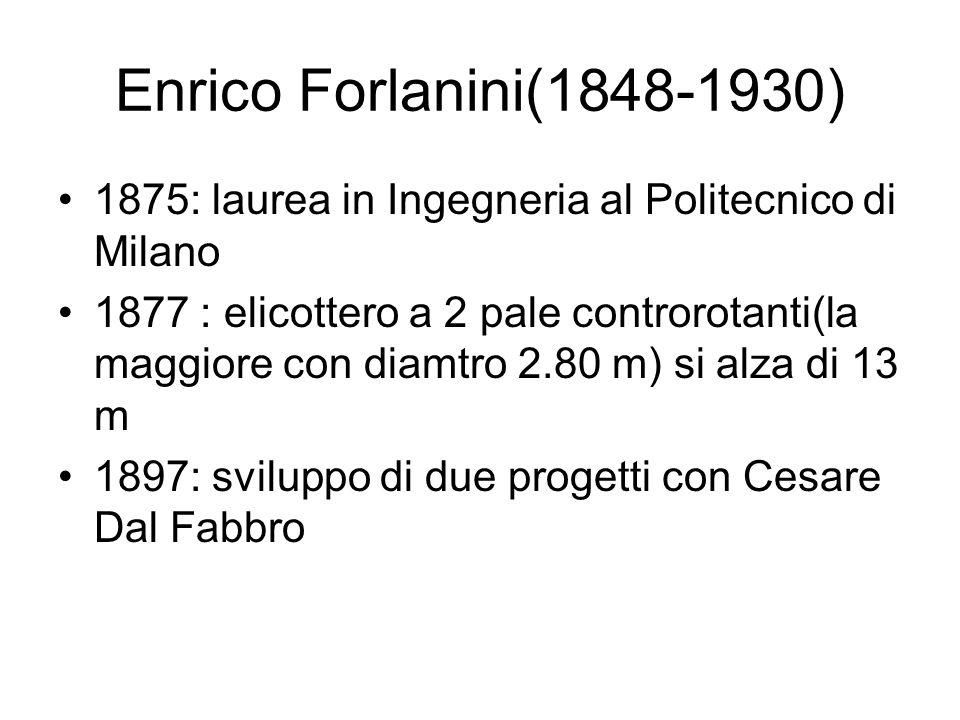 Enrico Forlanini(1848-1930) 1875: laurea in Ingegneria al Politecnico di Milano.