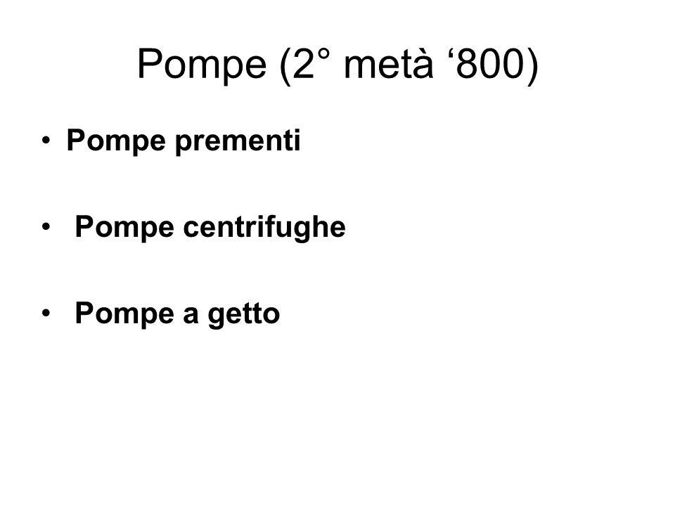 Pompe (2° metà '800) Pompe prementi Pompe centrifughe Pompe a getto