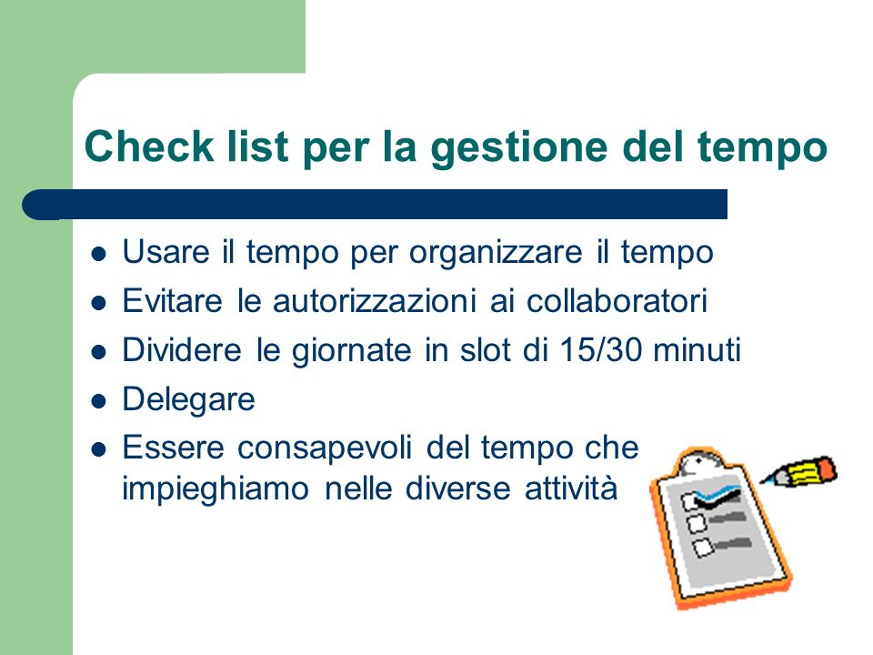 Check list per la gestione del tempo