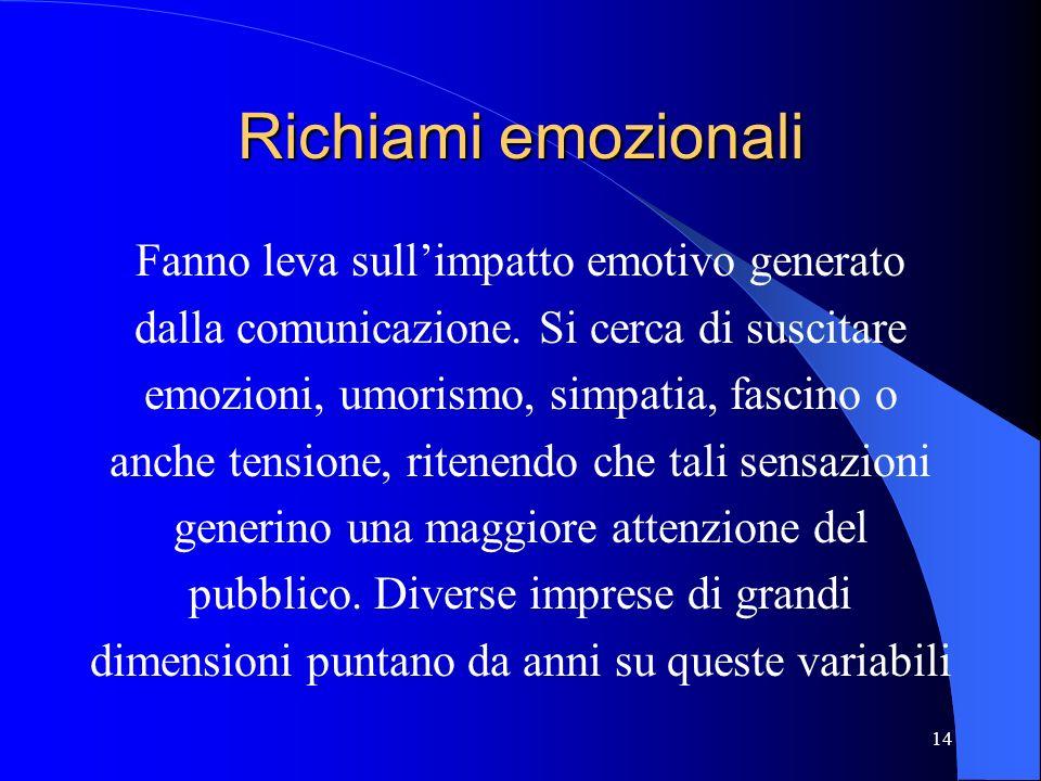 Richiami emozionali Fanno leva sull'impatto emotivo generato