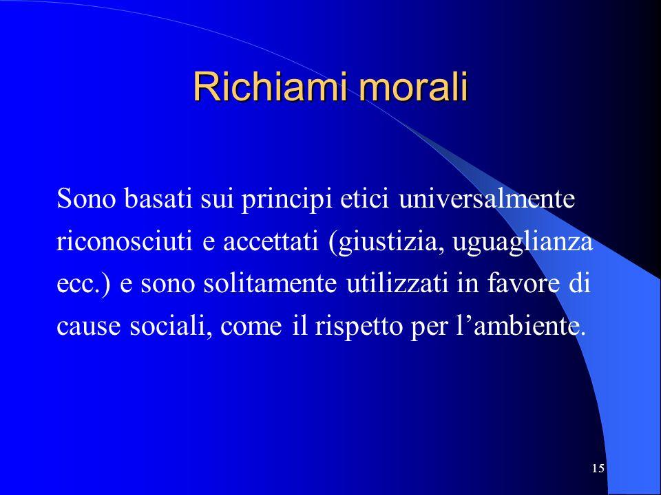 Richiami morali Sono basati sui principi etici universalmente