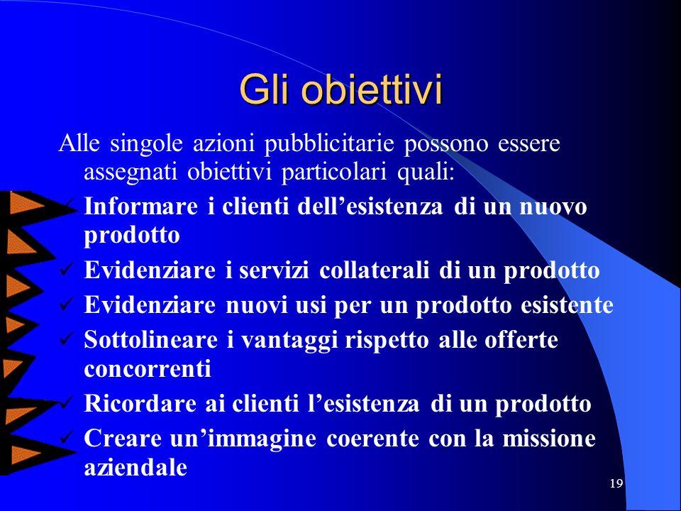 Gli obiettivi Alle singole azioni pubblicitarie possono essere assegnati obiettivi particolari quali: