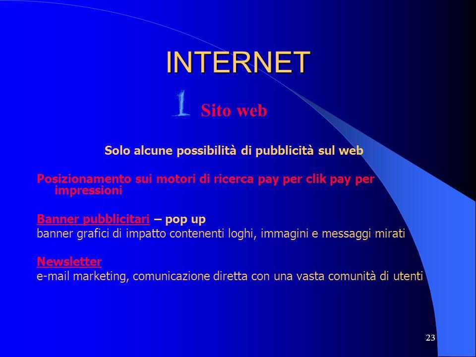 Solo alcune possibilità di pubblicità sul web