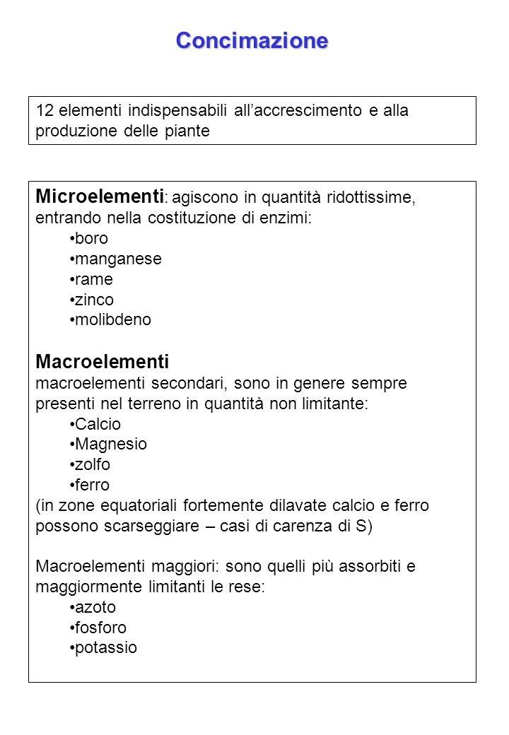 Concimazione 12 elementi indispensabili all'accrescimento e alla produzione delle piante.