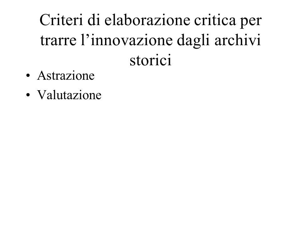 Criteri di elaborazione critica per trarre l'innovazione dagli archivi storici