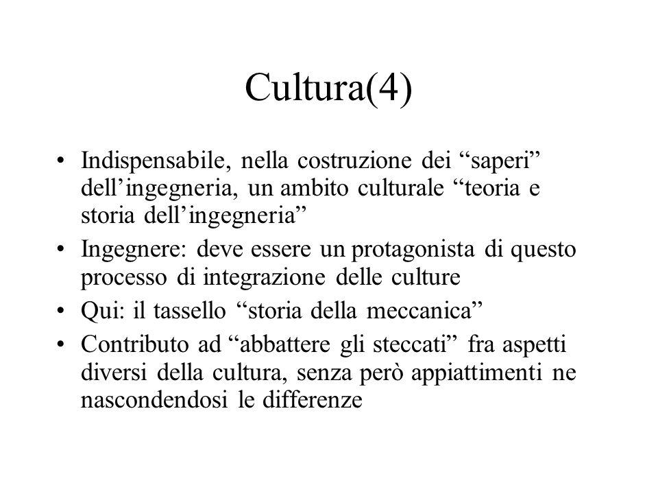 Cultura(4) Indispensabile, nella costruzione dei saperi dell'ingegneria, un ambito culturale teoria e storia dell'ingegneria