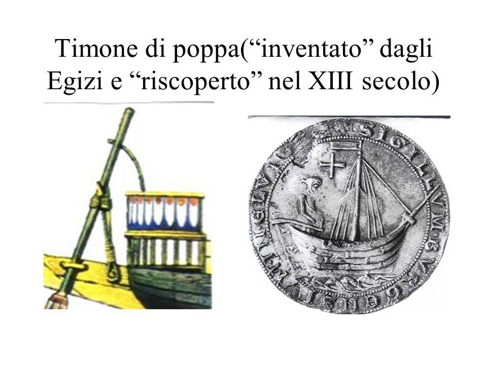 Timone di poppa( inventato dagli Egizi e riscoperto nel XIII secolo)