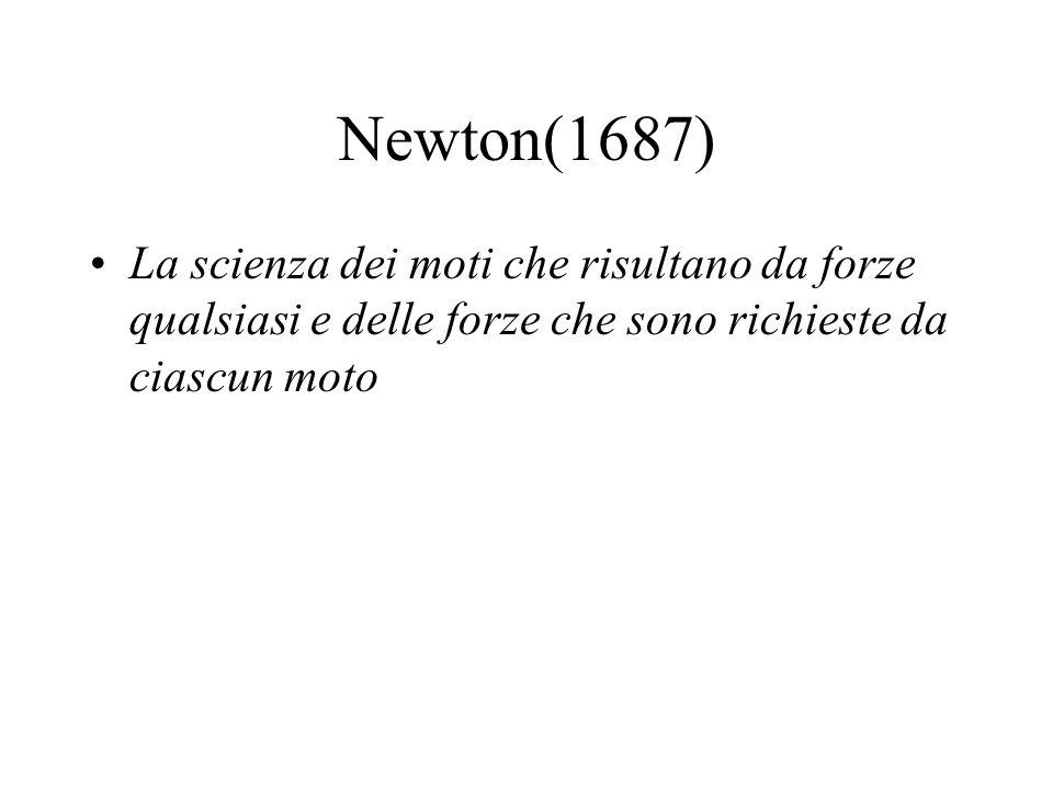 Newton(1687) La scienza dei moti che risultano da forze qualsiasi e delle forze che sono richieste da ciascun moto.