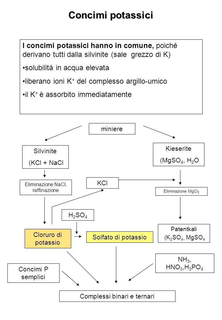 Concimi potassici I concimi potassici hanno in comune, poiché derivano tutti dalla silvinite (sale grezzo di K)