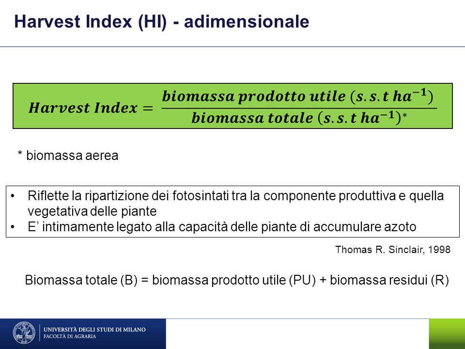 Harvest Index (HI) - adimensionale