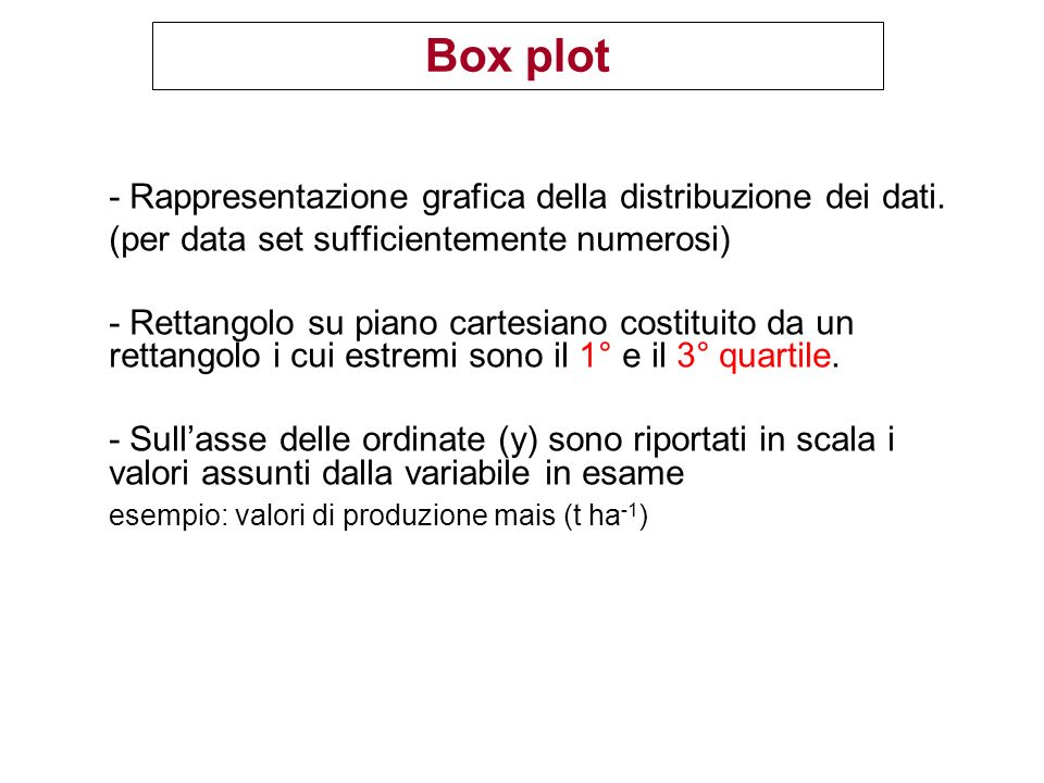 Box plot - Rappresentazione grafica della distribuzione dei dati.