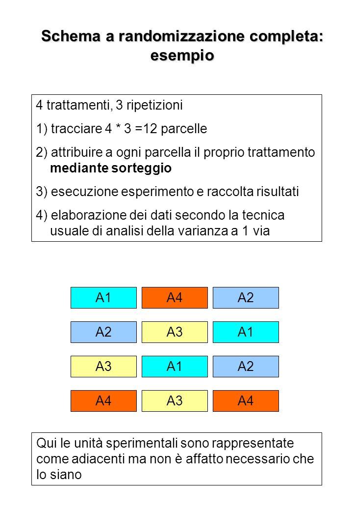 Schema a randomizzazione completa: esempio