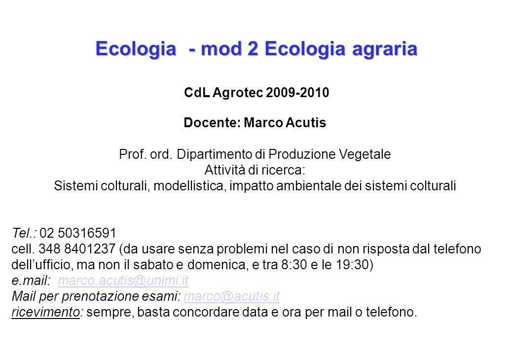 Ecologia - mod 2 Ecologia agraria