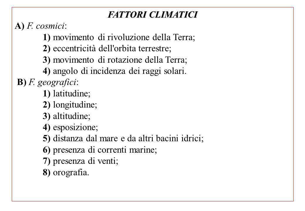 FATTORI CLIMATICI A) F. cosmici: 1) movimento di rivoluzione della Terra; 2) eccentricità dell orbita terrestre;