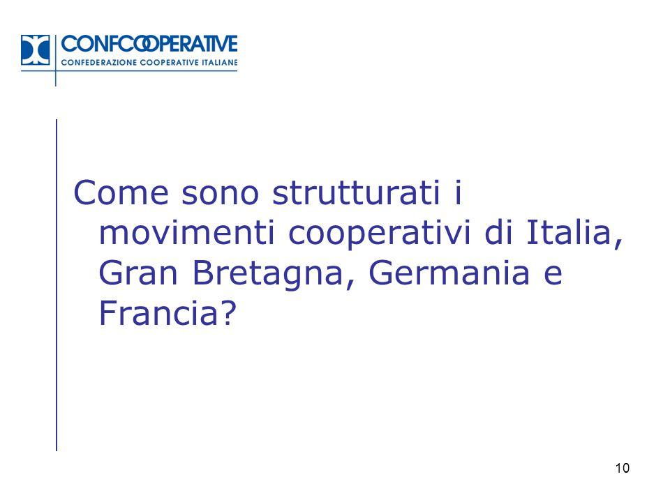 Come sono strutturati i movimenti cooperativi di Italia, Gran Bretagna, Germania e Francia