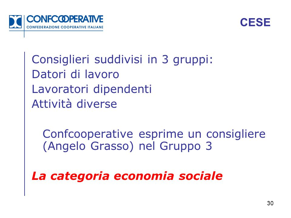 CESE Consiglieri suddivisi in 3 gruppi: Datori di lavoro. Lavoratori dipendenti. Attività diverse.