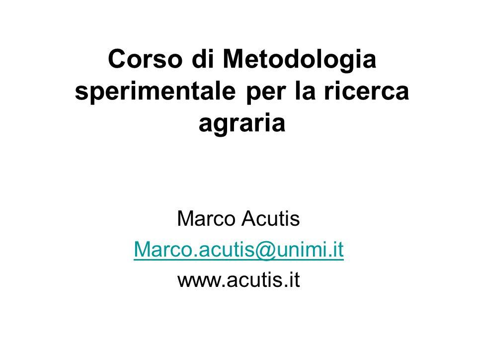 Corso di Metodologia sperimentale per la ricerca agraria